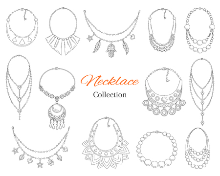 Fashionable necklaces collection, vector hand drawn doodle illustration. 向量圖像