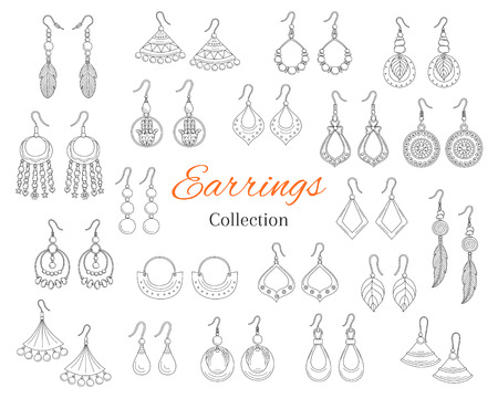 Fashionable earrings collection, vector hand drawn doodle illustration.