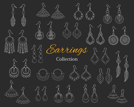 Fashionable earrings collection, vector hand drawn doodle illustration, isolated on chalkboard background.