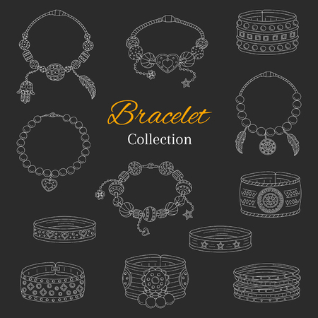Fashionable bracelets collection, vector hand drawn doodle illustration, isolated on chalkboard background.