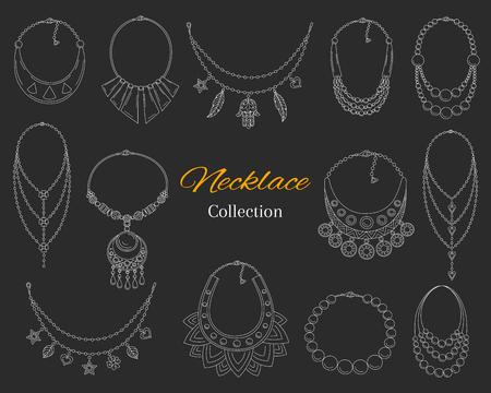 Fashionable necklaces collection, vector hand drawn doodle illustration, isolated on chalkboard background.