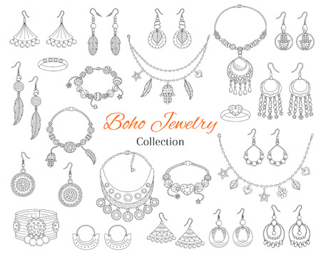 Fashionable boho jewelry accessories collection, vector hand drawn doodle illustration. fashionable bracelets, necklaces, earrings and rings, isolated on white background.