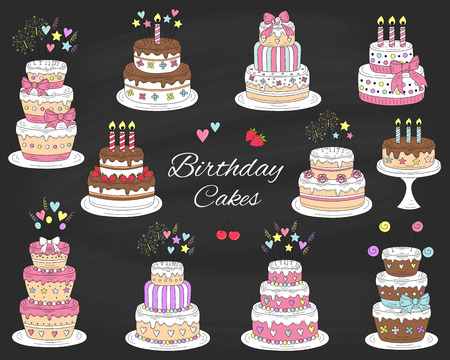 Birthday cakes set, vector hand drawn colorful doodle illustration. 向量圖像
