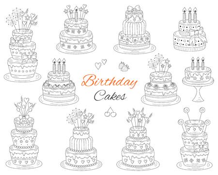 Birthday cakes set, vector hand drawn doodle illustration.