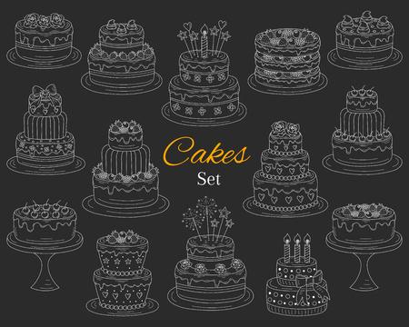 Cakes set, vector hand drawn doodle illustration. 向量圖像