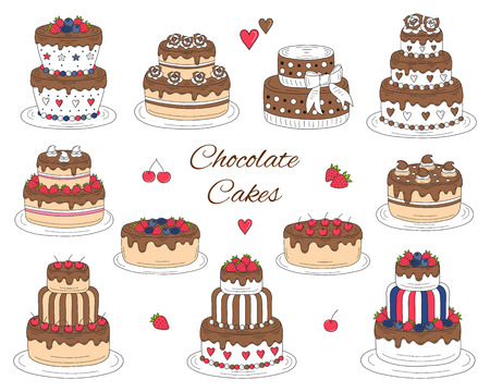 Chocolate cakes set, vector hand drawn, colorful doodle illustration. 向量圖像