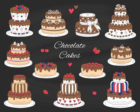 Chocolate cakes set, vector hand drawn, colorful doodle illustration. 版權商用圖片