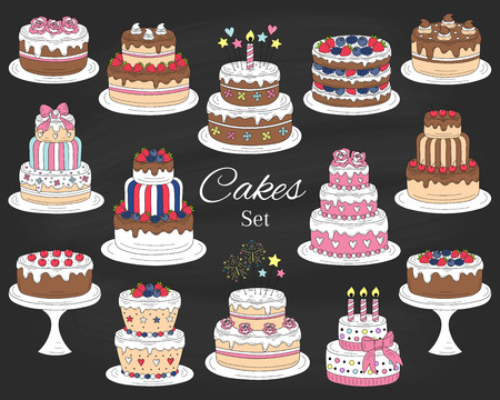 Cakes set, vector hand drawn colorful doodle illustration.