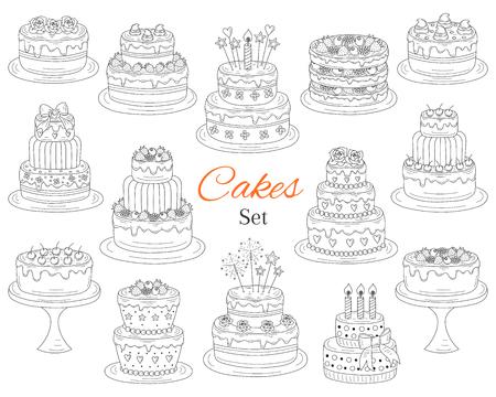 Cakes set, vector hand drawn doodle illustration. 版權商用圖片