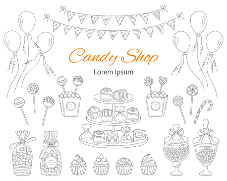 Vector illustration of Candy shop with sweets, candies in glass jars, lollipops, sweetmeats, assorted chocolates, cupcakes, air balloons and bunting flags.