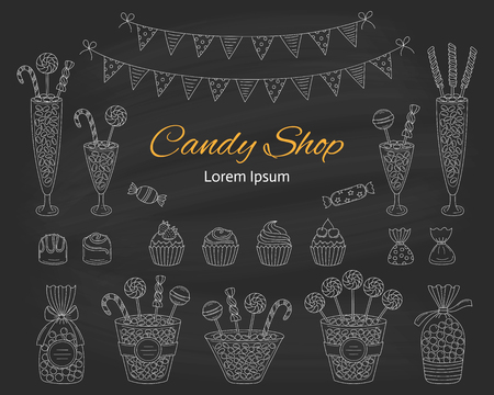 Vector illustration of Candy shop, hand drawn doodle style. 向量圖像
