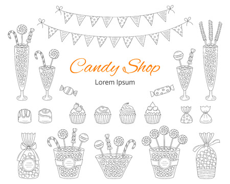 Vector illustration of Candy shop, hand drawn doodle style. Çizim