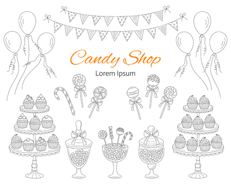 Vector illustration of candy shop with sweets. 向量圖像