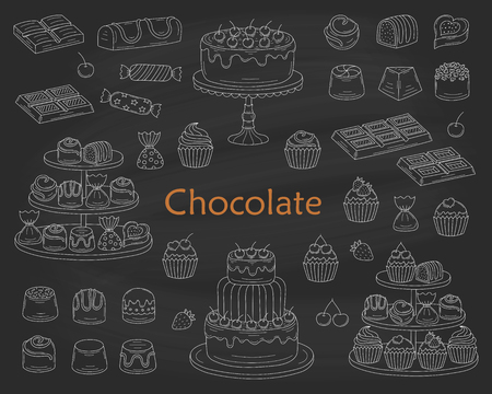 Chocolate dessert collection, with chocolate cherry cakes, chocolate bars, sweet candies and cupcakes, isolated on chalkboard.