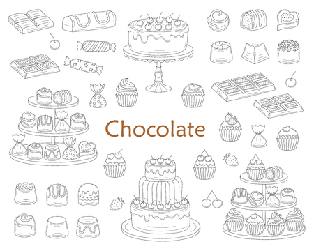 Chocolate dessert collection, with chocolate cherry cakes, chocolate bars, sweet candies and cupcakes, isolated on white background.
