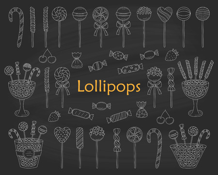 Lollipop set vector hand drawn doodle illustration. Different types of sweets, candies, lollipops, sweetmeats, glass candy jars, isolated on chalkboard background.