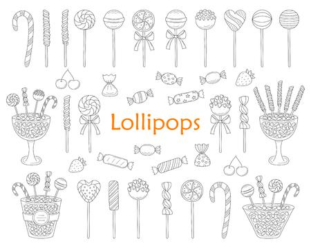 Lollipop set vector hand drawn doodle illustration.