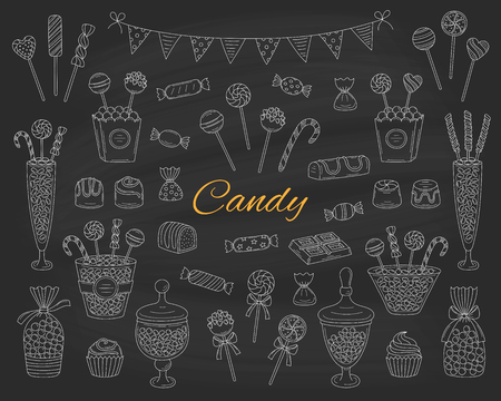Candy set vector hand drawn doodle illustration. Different types of sweets, candies, lollipops, sweetmeats, chocolates, glass candy jars, isolated on chalkboard background.