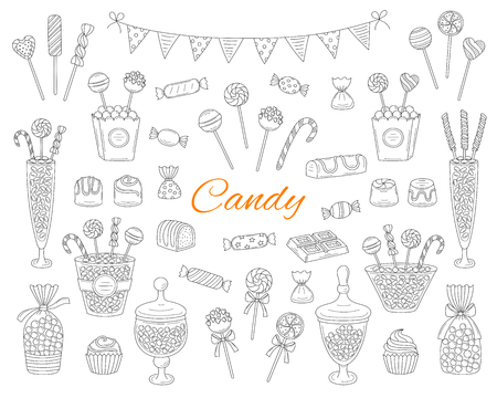 Candy set vector hand drawn doodle illustration. Different types of sweets, candies, lollipops, sweetmeats, chocolates, glass candy jars, isolated on white background. Stock Illustratie