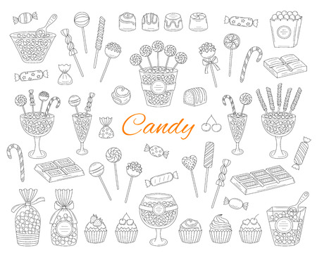 Candy set vector hand drawn doodle illustration. Different kinds of sweets, candies, lollipops, sweetmeats, chocolates, glass candy jars, isolated on white background. 向量圖像