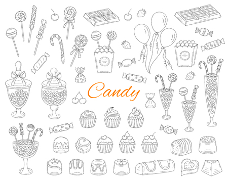 Candy set vector hand drawn doodle illustration. Different types of sweets, candies, lollipops, sweetmeats, chocolates, glass candy jars, isolated on white background. 向量圖像
