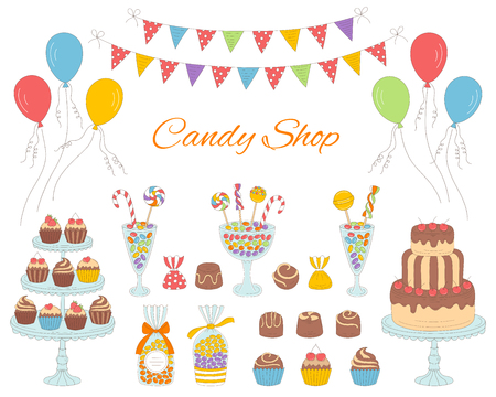Vector illustration of Candy shop with colorful sweets, candies in glass jars, lollipops, sweetmeats, assorted chocolates, cupcakes, cherry chocolate cake, air balloons and bunting flags.