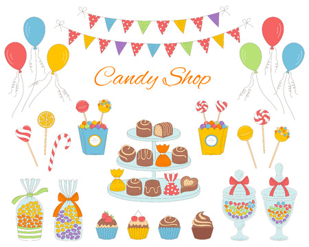 Illustration of candy shop with colorful sweets, candies in glass jars, lollipops, sweetmeats, assorted chocolates, cupcakes, air balloons and bunting flags.