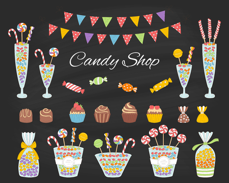 Vector illustration of candy shop with colorful sweets, candies in glass jars, lollipops, sweetmeats, assorted chocolates, cupcakes and bunting flags. Hand drawn doodle illustration. Çizim