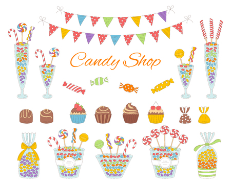 Vector illustration of candy shop with colorful sweets, candies in glass jars, lollipops, sweetmeats, assorted chocolates, cupcakes and bunting flags. Hand drawn doodle illustration. 版權商用圖片 - 92842745