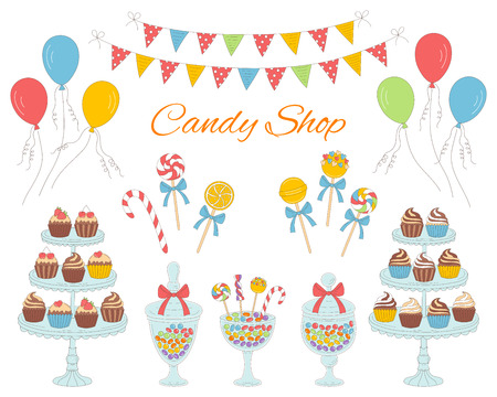 Vector illustration of candy shop, hand drawn doodle style. 矢量图像