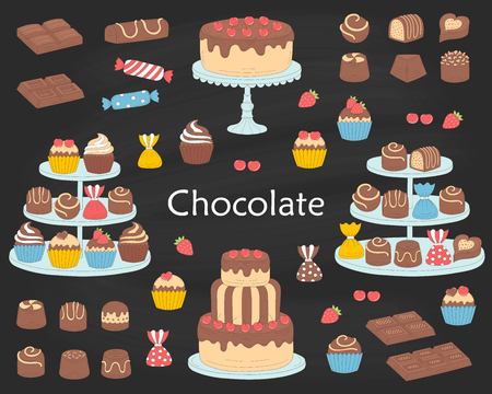 Chocolate dessert collection, with chocolate cherry cakes, chocolate bars, sweet candies and cupcakes, vector illustration.