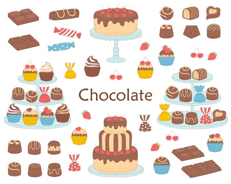 Chocolate dessert collection, with chocolate cherry cakes, chocolate bars, sweet candies and cupcakes, isolated on white background in hand drawn doodle illustration.