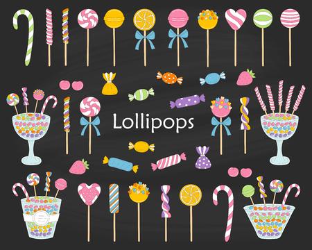 Lollipop set vector hand drawn doodle illustration. 版權商用圖片 - 92843961