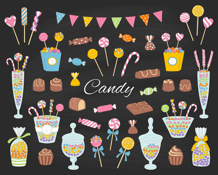 Candy set vector hand drawn doodle illustration.