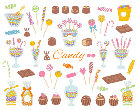 Candy set hand drawn doodle illustration. Different kinds of colorful sweets, candies, lollipops, sweetmeats, chocolates, glass candy jars, isolated on white background. 版權商用圖片 - 92843497