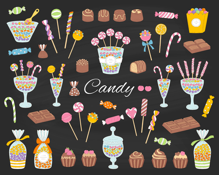 Candy set vector hand drawn doodle illustration. Different kinds of colorful sweets, candies, lollipops, sweetmeats, chocolates, glass candy jars, isolated on chalkboard