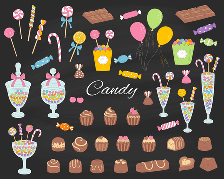 Candy set vector hand drawn doodle illustration. Different kinds of colorful sweets, candies, lollipops, sweetmeats, chocolates, glass candy jars, isolated on chalkboard background.
