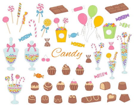 Candy set vector hand drawn doodle illustration. Different kinds of colorful sweets, candies, lollipops, sweetmeats, chocolates, glass candy jars, isolated on white background.