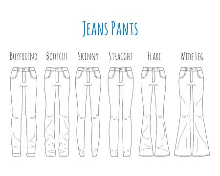 Colección de pantalones vaqueros, ilustración vectorial de dibujo. Ilustración de vector
