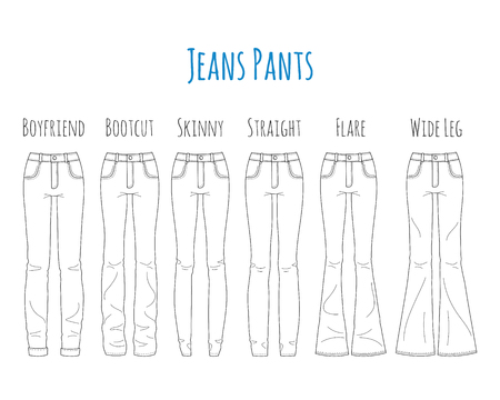 Jeans pants collection, sketch vector illustration.