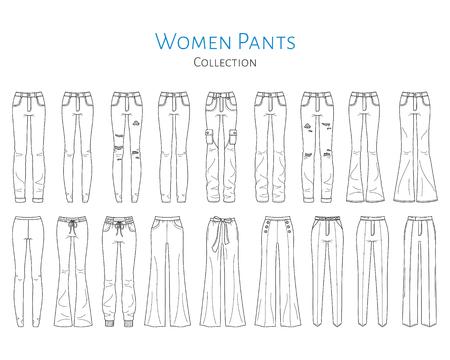 Colección de pantalones de mujer, ilustración de dibujo vectorial.