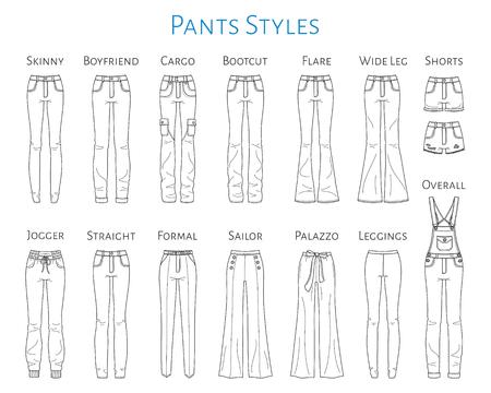 Colección de pantalones de mujer, ilustración de dibujo vectorial. Ilustración de vector