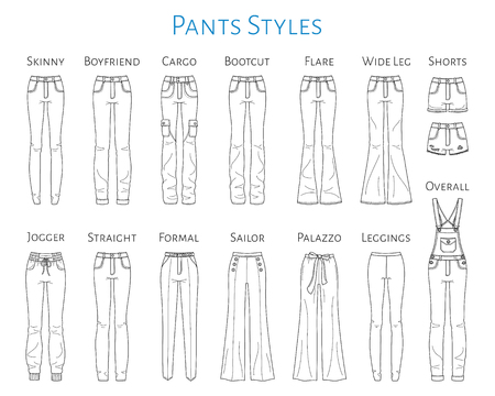 Women pants collection, vector sketch illustration. Ilustração