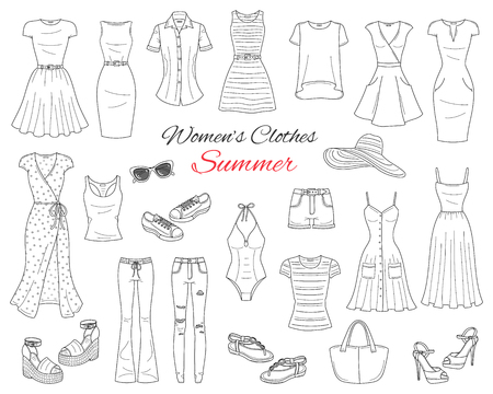 Women clothes collection. Vector sketch illustration. Ilustração