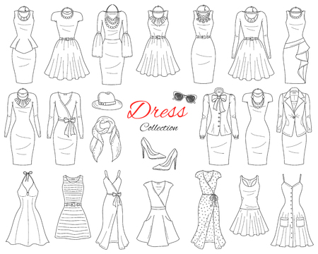 Womens clothing collection. Illustration