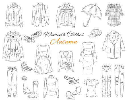 Womens clothes collection. Vector sketch illustration.