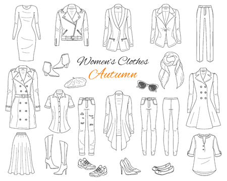 Womens clothes collection. Vector sketch illustration. 版權商用圖片 - 104185111