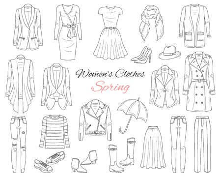 Women clothes collection. Spring outfit. Vector illustration. 版權商用圖片 - 104185112