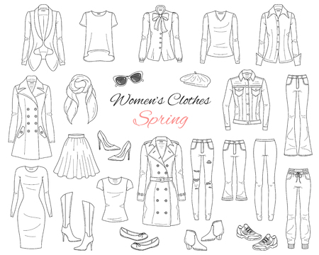 Women clothes collection. Spring outfit. Vector illustration.