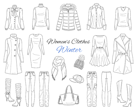 Womens clothes collection. Winter outfit. Vector sketch illustration. Stock Illustratie